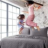 Bedsure Quilt Set Grey Full/Queen Size