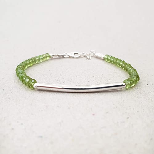 Bracelet Sterling Silver Bangle with Faceted Peridot