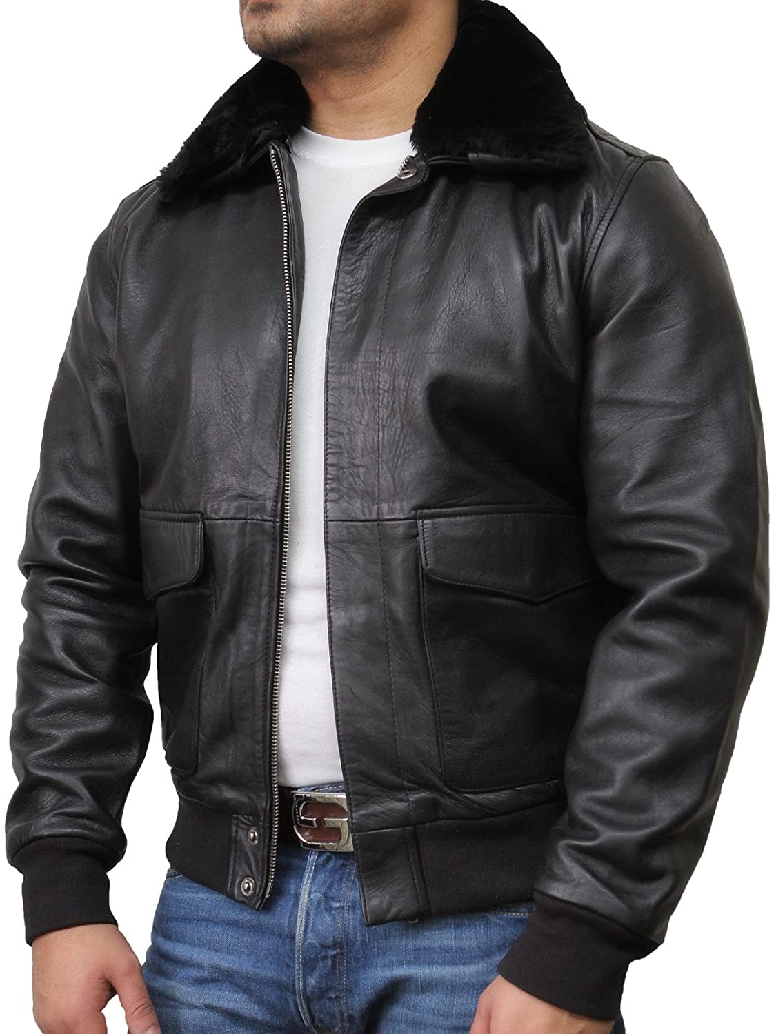 Mens Real Fur Collar Leather Bomber Pilot Flying Jacket Black A2 With Removable Sheepskin Fur Collar