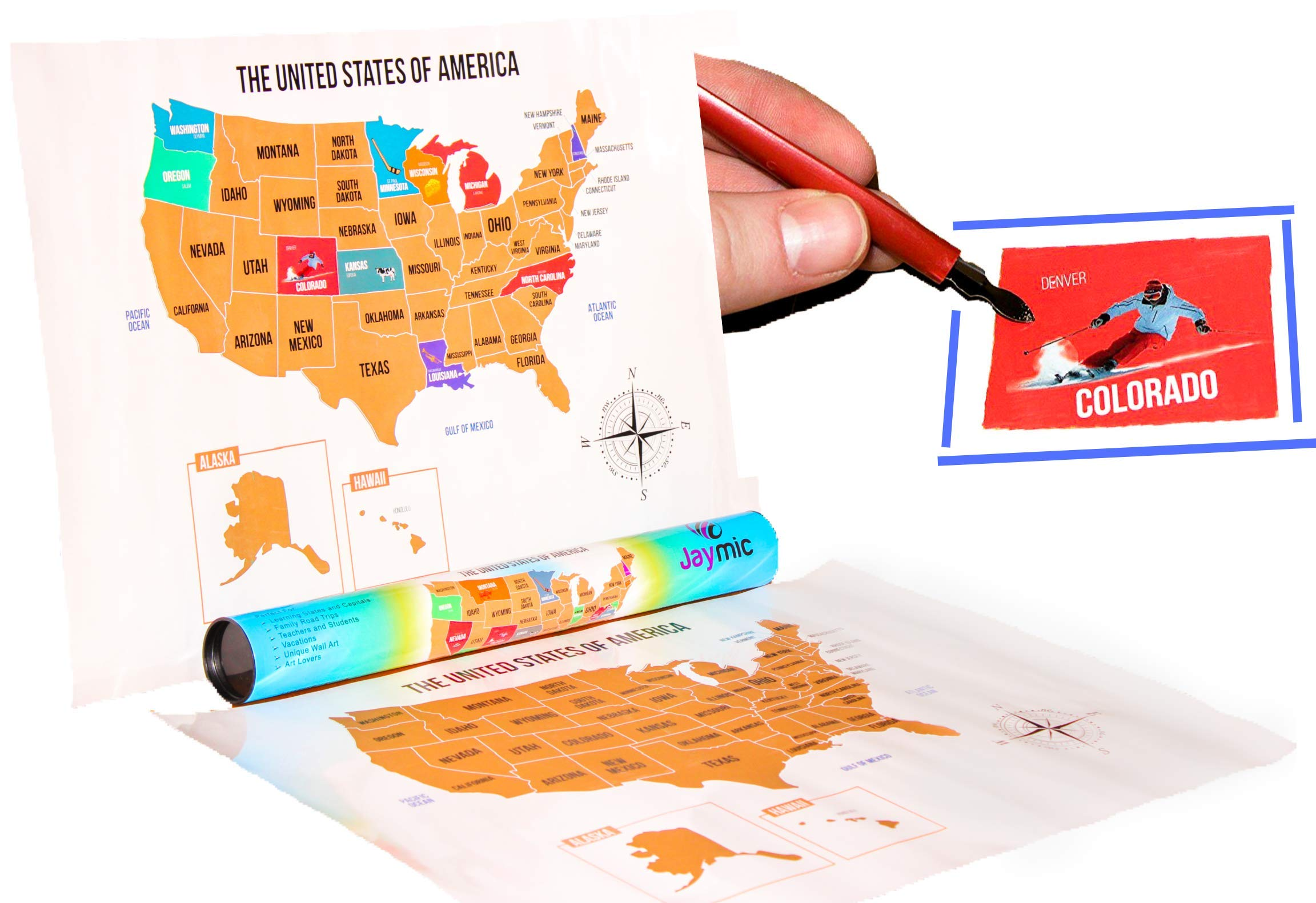 Jaymic Scratch Off Travel Map of USA | Track Your Travels | Learn States and Capitals Perfect for Kids | United States of America with Capital Cities (17''x24'') | Premium Quality with Scratching Tool by Jaymic