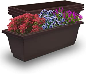 Outland Living Outdoor and Indoor Rectangle Plastic Planter Box Perfect for Herbs Succulents Vegetables and Flower Gardening (Large 4-Pack, Espresso Brown)