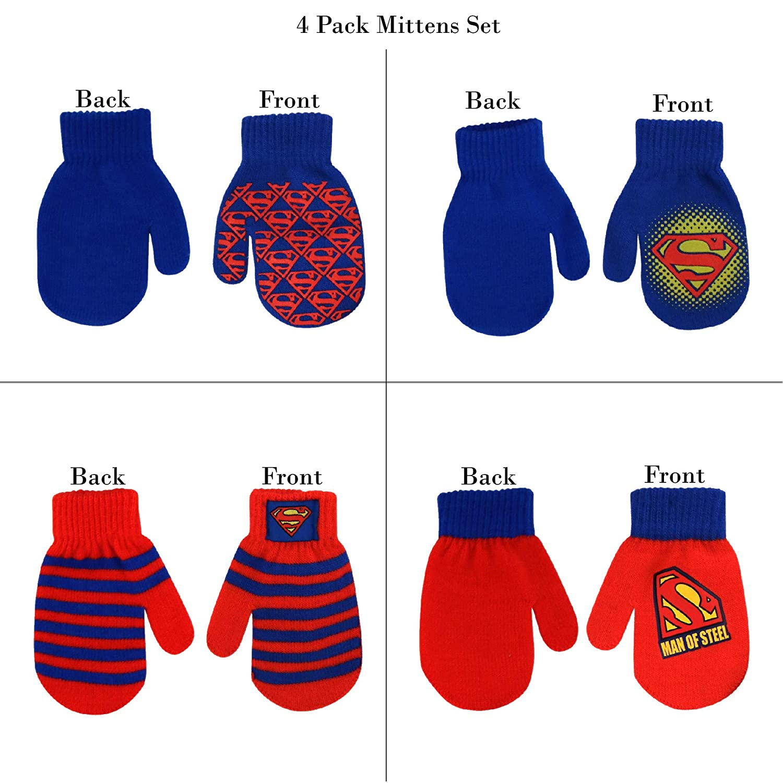 Age 2-4 DC Comics Assorted Superhero Designs 4 Pair Acrylic Mittens Set Toddler Boys