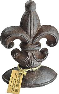 Lulu Decor, Cast Iron Fleur De Lis Door Stop, 2 Lbs, Door Stopper (Antique Brown)