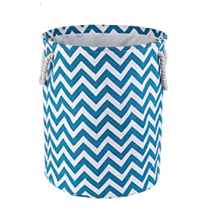 AMROSE Luxury Canvas Storage Bin, Sturdy Collapsible Storage Basket with Rope Handles, Fashionable Durable Hamper for Laundry, Toys, Baby Nursery, Chevron