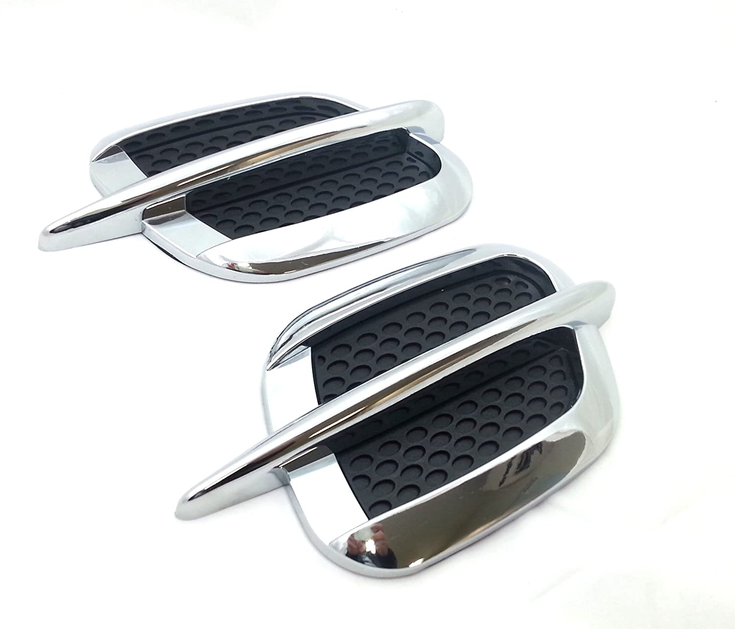2 x Side Wing Air Flow Intake Vent Trim Fender Grill Universal Black and Chrome