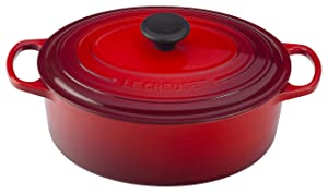 Le Creuset of America Enameled Cast Iron Signature Oval Dutch Oven, 8 quart, Cerise (Cherry Red)
