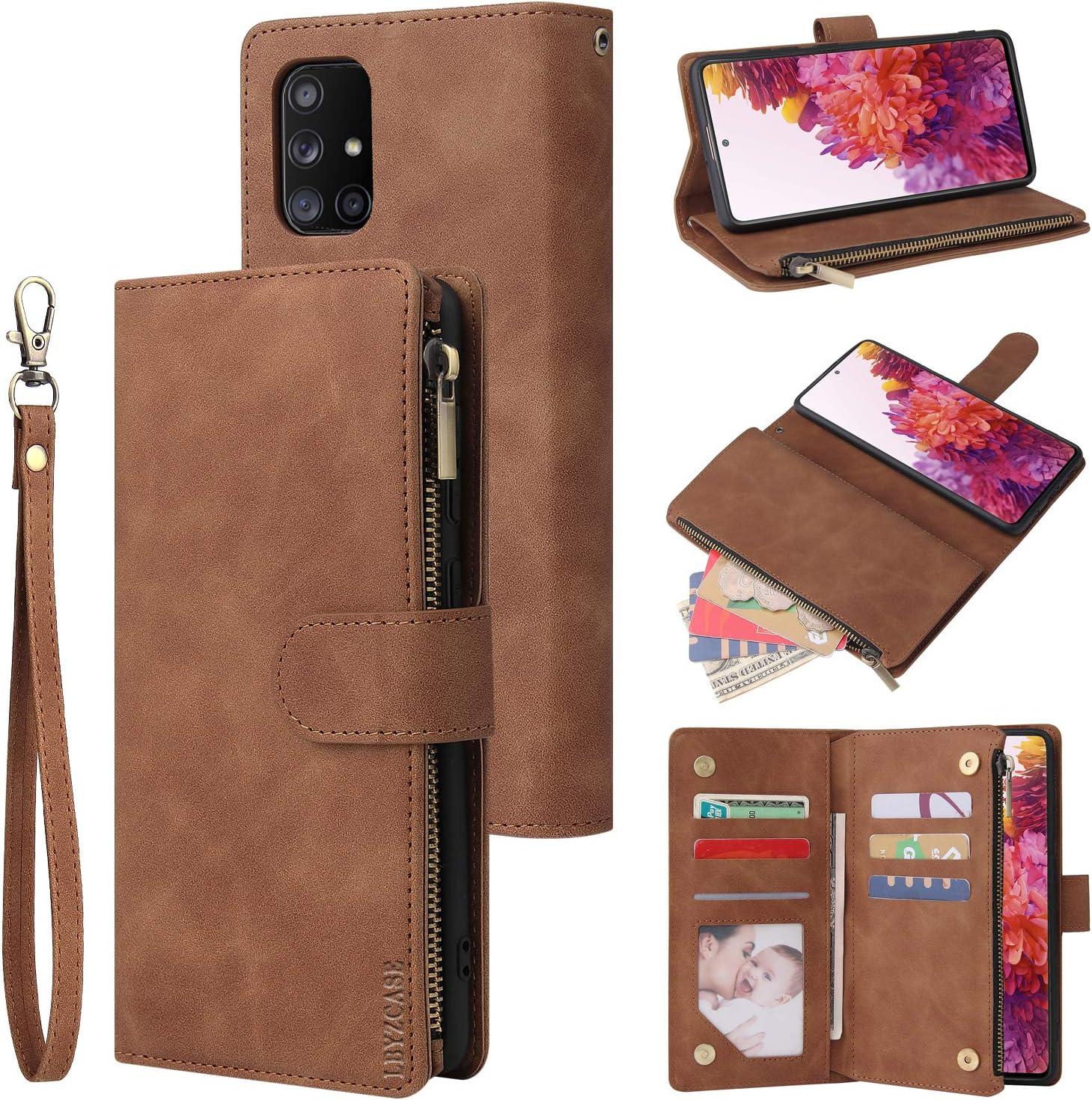 for Samsung Galaxy S20 FE 5G Wrist Strap -Brown 2020 ,Samsung S20 FE Wallet Case,Luxury Folio Flip Leather Cover LBYZCASE Phone Case for Galaxy S20 FE 5G Fan Edition Kickstand Zipper Pocket