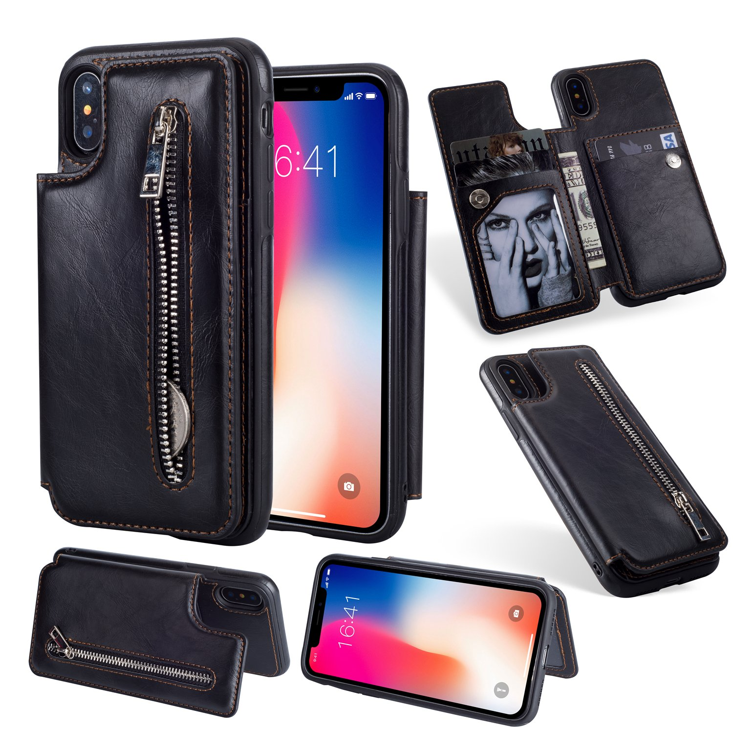Zipper Wallet Case for iPhone XS Max 6.5 inch,Shinyzone iPhone XS Max 6.5 inch Case with Money Pocket [One Magnetic Buckle] Premium Vintage Leather PU Flip Back Cover-Black