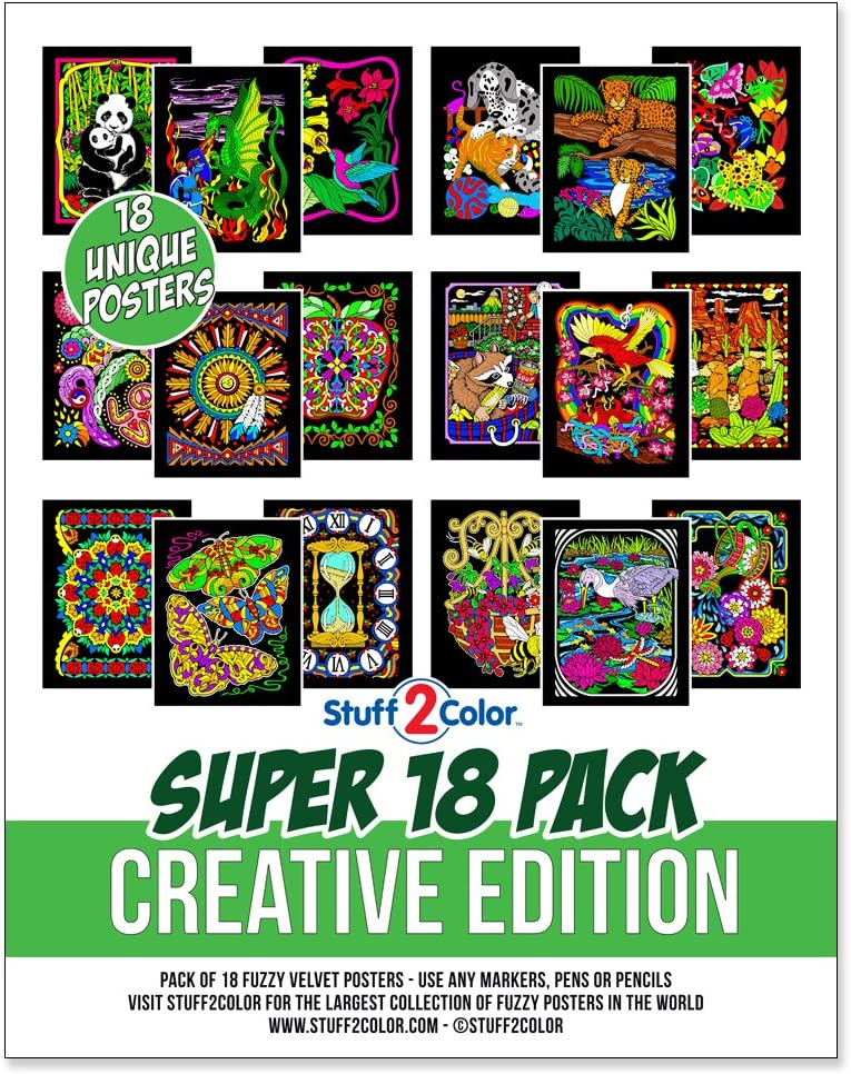 Super Pack of 18 Fuzzy Velvet Coloring Posters (Creative Edition) - Great for Family Time, Arts & Crafts, Travel, Classrooms, Care Facilities [All Ages Coloring: Girls, Boys, Adults, Toddlers, Teens]