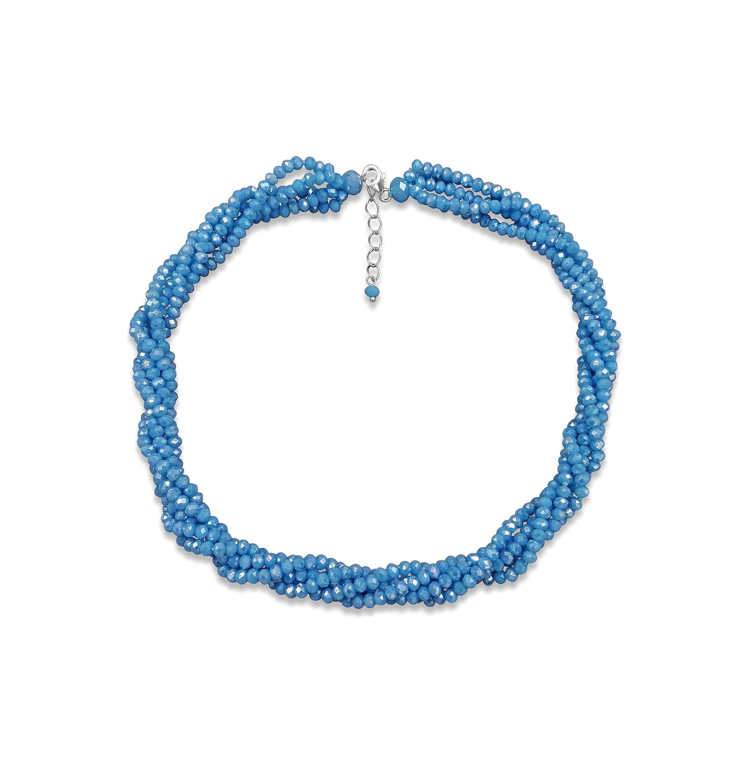 BjB Multi-Strand Layered Bib Collar Statement Crystal Necklace.