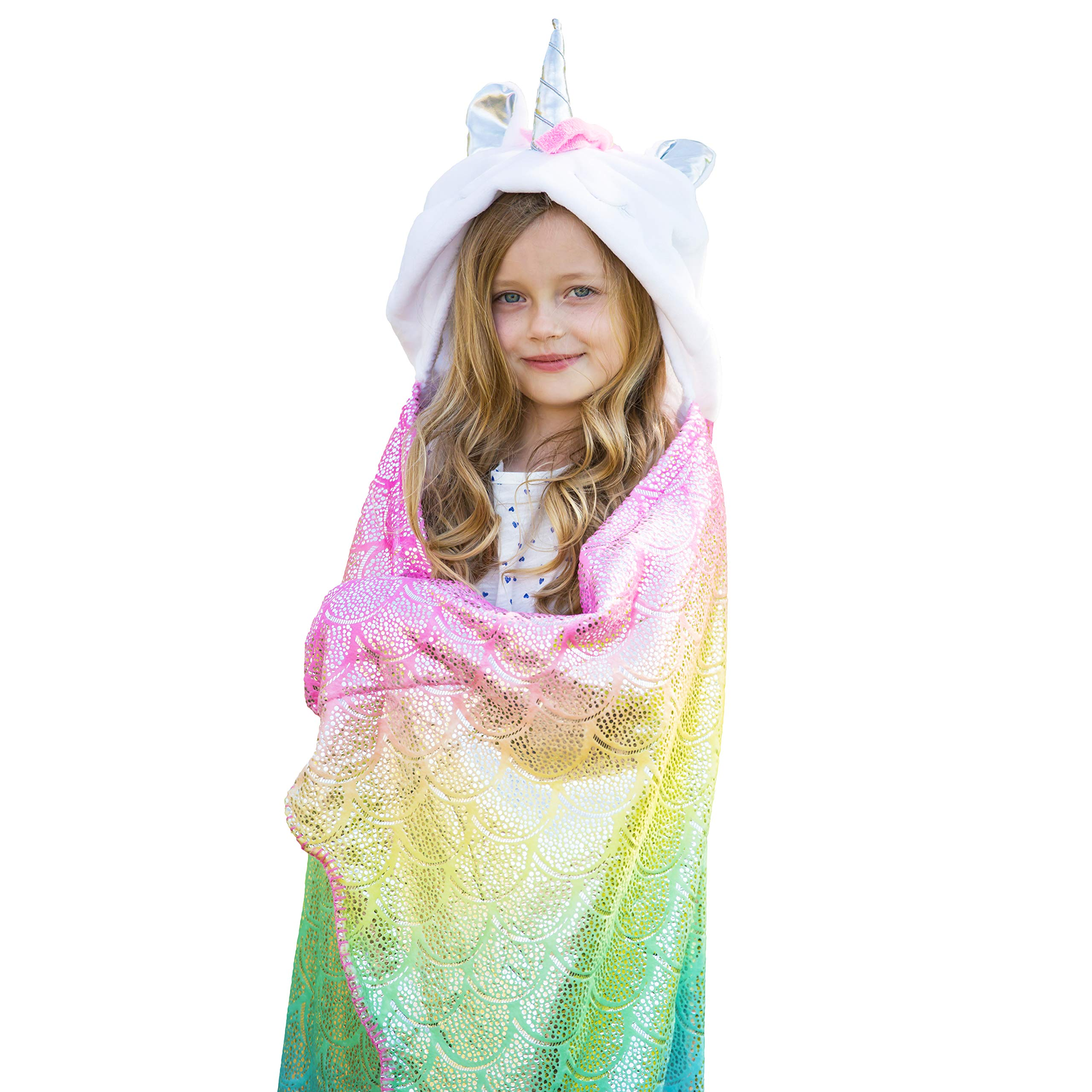 Rainbow Unicorn Blanket For Girls | Hooded Plush Colorful Unicorn Throw Blanket For Kids & Adults | Large Soft Cozy Blanket Wrap With Hood & Shiny Sparkles For Sleep Or Pretend Play | Unicorn Gift