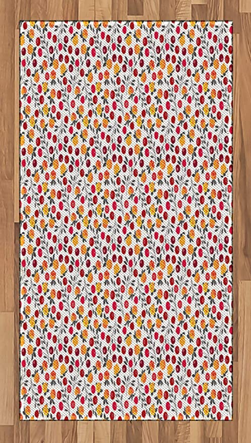 Amazon Com Ambesonne Cranberry Area Rug Vibrant Cloudberry Fresh Fruits Flowers Spring Season Inspiration Botanical Print Flat Woven Accent Rug For Living Room Bedroom Dining Room 2 6 X 5 Multicolor Kitchen Dining