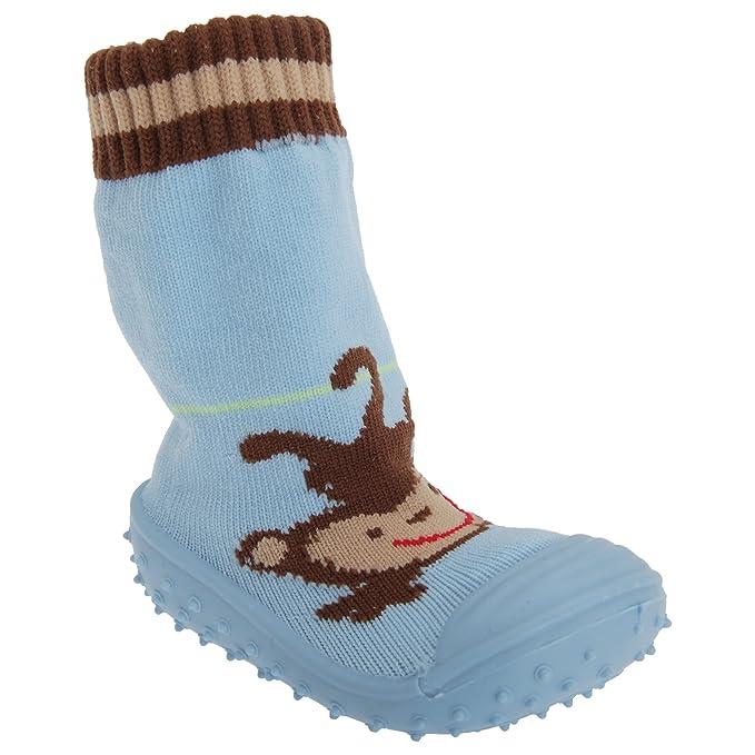 Calcetines con suela de goma con mono (un par) - Bebé celeste 12/18 Meses: Amazon.es: Ropa y accesorios