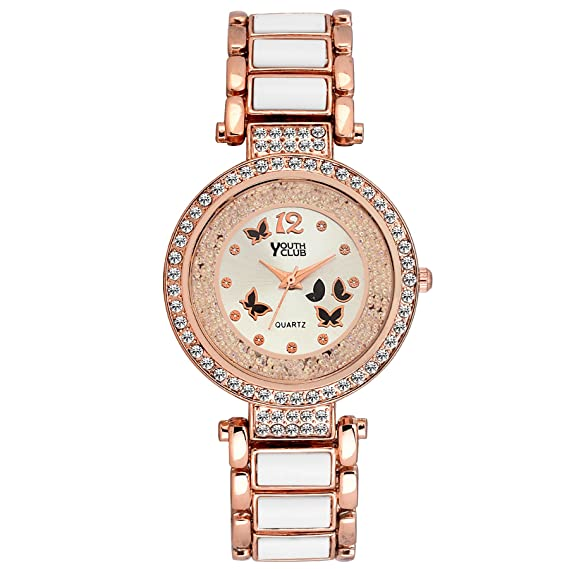 YOUTH CLUB BFLY WHT Pearly Butterfly Analog Watch for Girls Girls