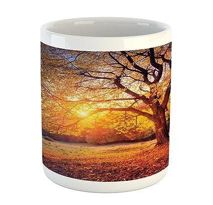 bc90e63eaa Ambesonne Fall Tree Mug, Big Majestic Autumn Tree Shedding Faded Leaves on  The Hill Slop