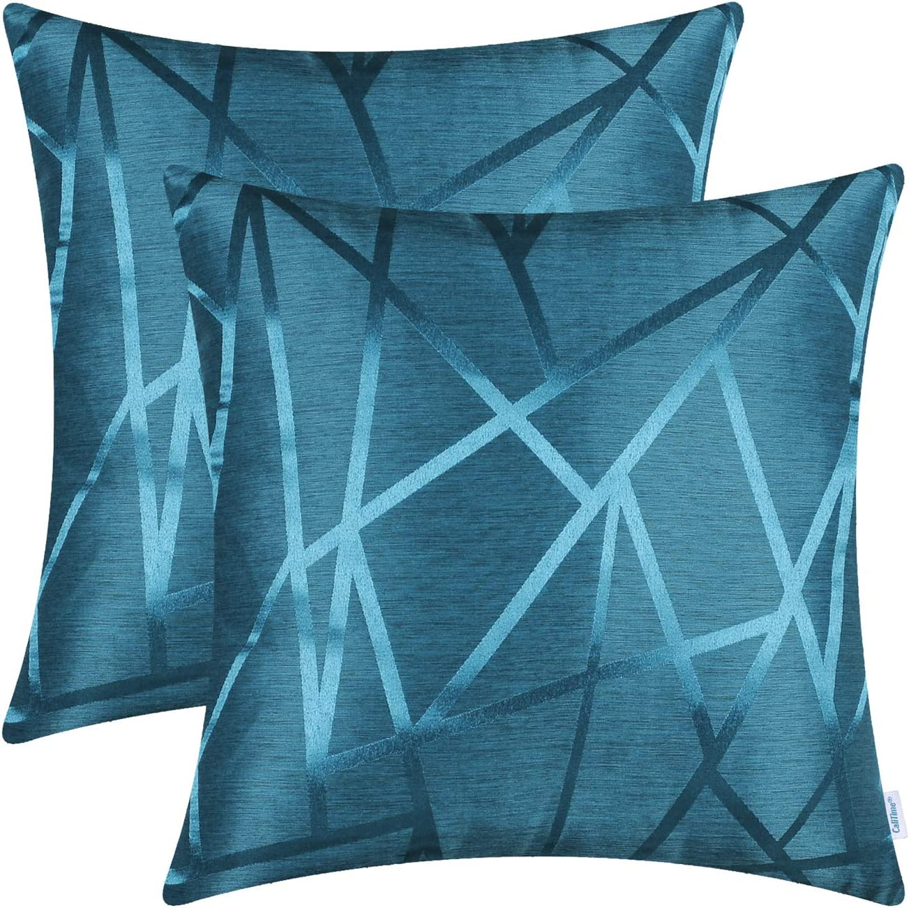 CaliTime Pack of 2 Throw Pillow Covers Cases for Couch Sofa Home Decor Modern Shining & Dull Contrast Triangles Abstract Lines Geometric 18 X 18 Inches Seaport Blue