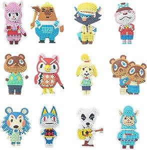GUHAR 5D Diamond Painting Stickers Kits, 12 PCS DIY Animal Crossing Cartoon Theme Stick Paint with Diamonds by Numbers Kit Mosaic Stickers