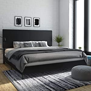 DHP Janford Upholstered Bed, King, Black