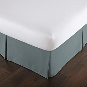 Southshore Fine Linens - VILANO Springs - 15 inch Drop Pleated Bed Skirt, Steel Blue (Teal), King