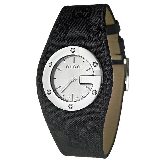 Gucci 104 YA104519 - Reloj analógico de cuarzo para mujer, correa de cuero color negro: Amazon.es: Relojes