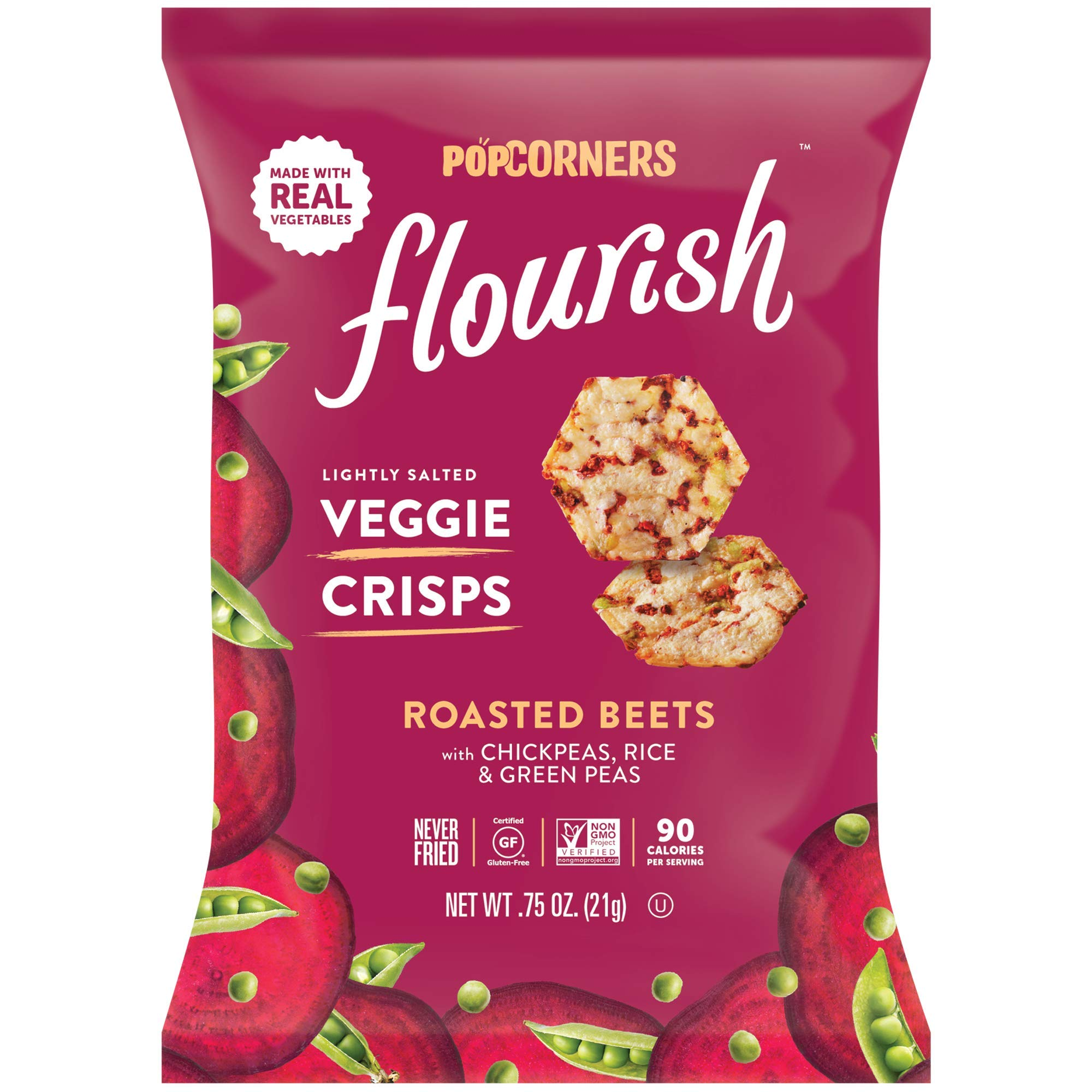 PopCorners Flourish Roasted Beets Veggie Crisps | Plant-Based Protein, Gluten Free Snacks | (24 Pack, .75 oz Snack Bags) by Popcorners