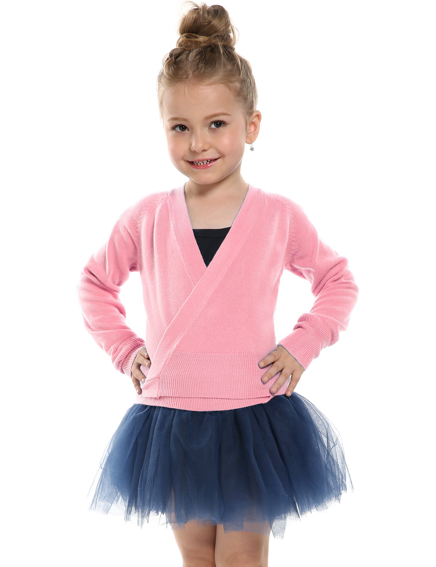 Kidsmian Little Girl's Classic Long Sleeve Knit Wrap Top Ballet Dance Cardigan (130(Age for 6-7Y), Ballet Pink)