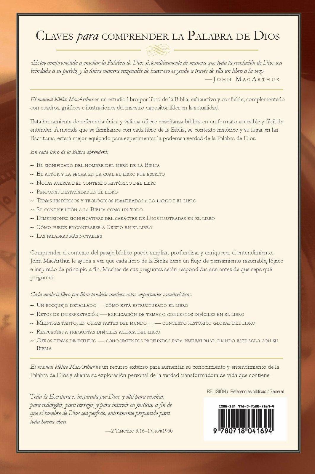 El manual bíblico MacArthur: Un estudio introductorio a la Palabra de Dios, libro  por libro (Spanish Edition): John F. MacArthur: 9780718041694: Amazon.com:  ...