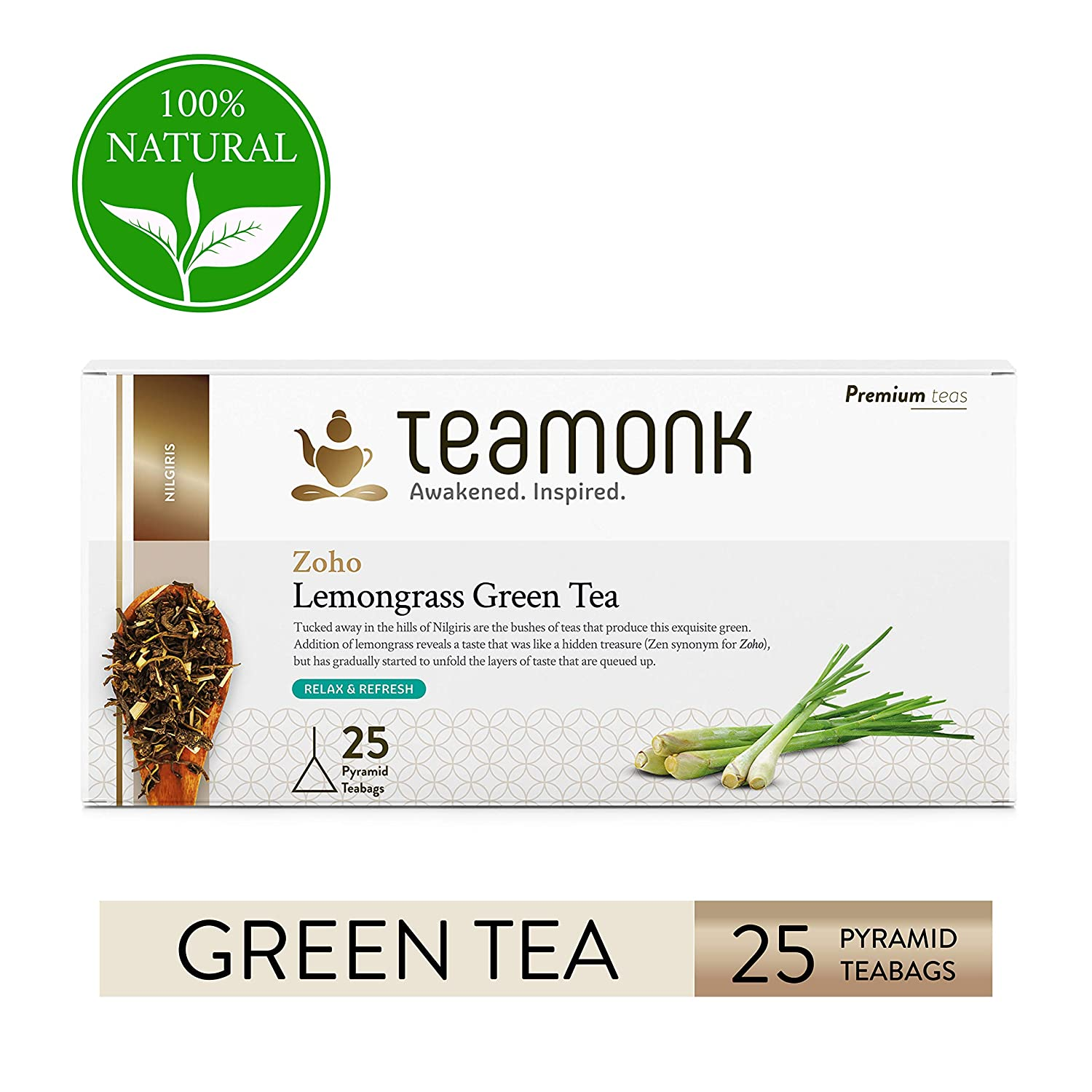 Teamonk Zoho Nilgiri Lemongrass Green Tea Bags - 25 Teabags