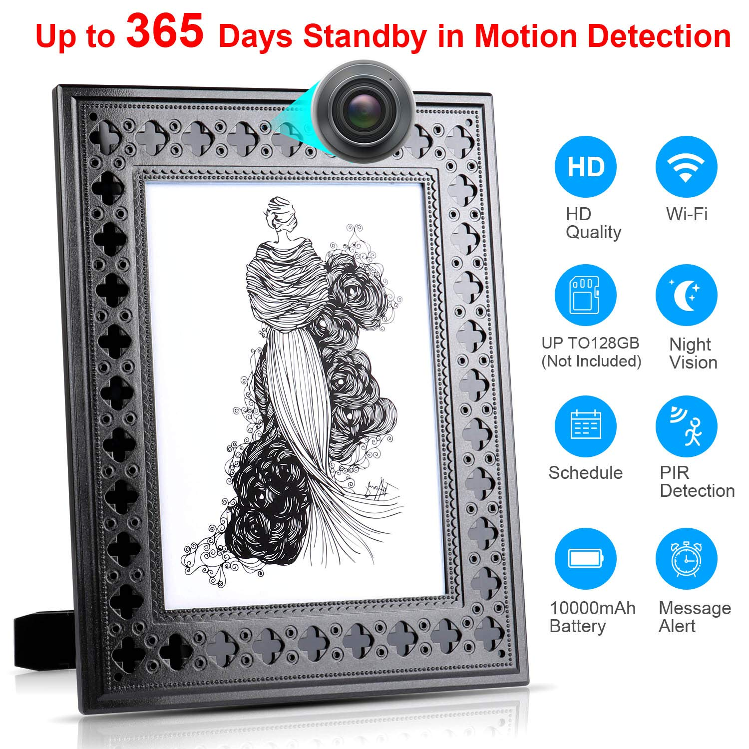 Spy Camera Wireless Hidden - Hidden Cam WiFi Photo Frame - Nanny Cams with Cell Phone APP - 720HD Night Vision & Motion Detection 365 Days Battery Powered Standby Instant Alerts for Indoor Security by NIGHT WELL