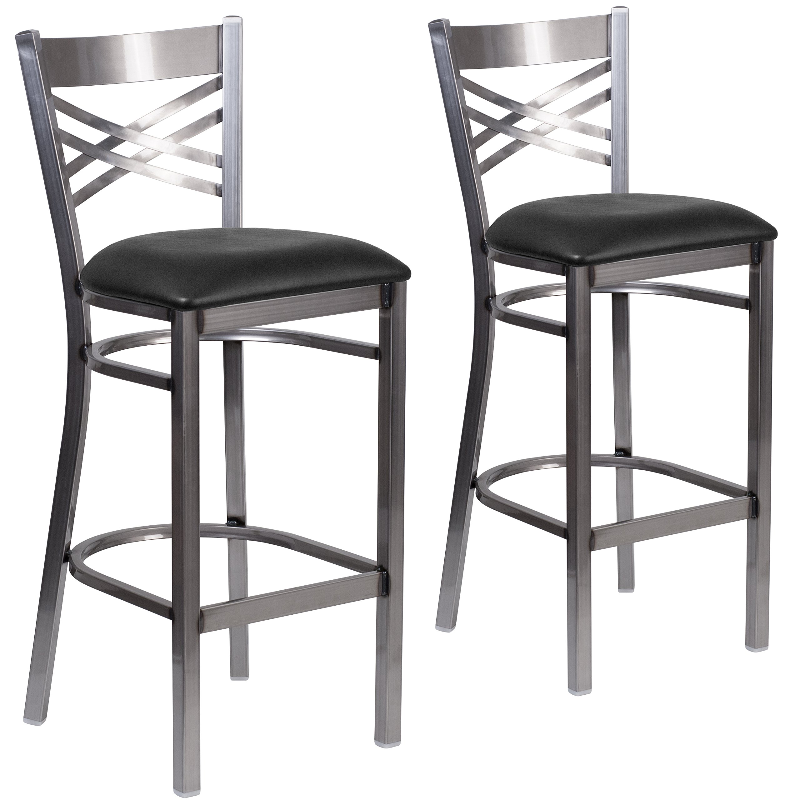Flash Furniture 2 Pk. HERCULES Series Clear Coated ''X'' Back Metal Restaurant Barstool - Black Vinyl Seat by Flash Furniture