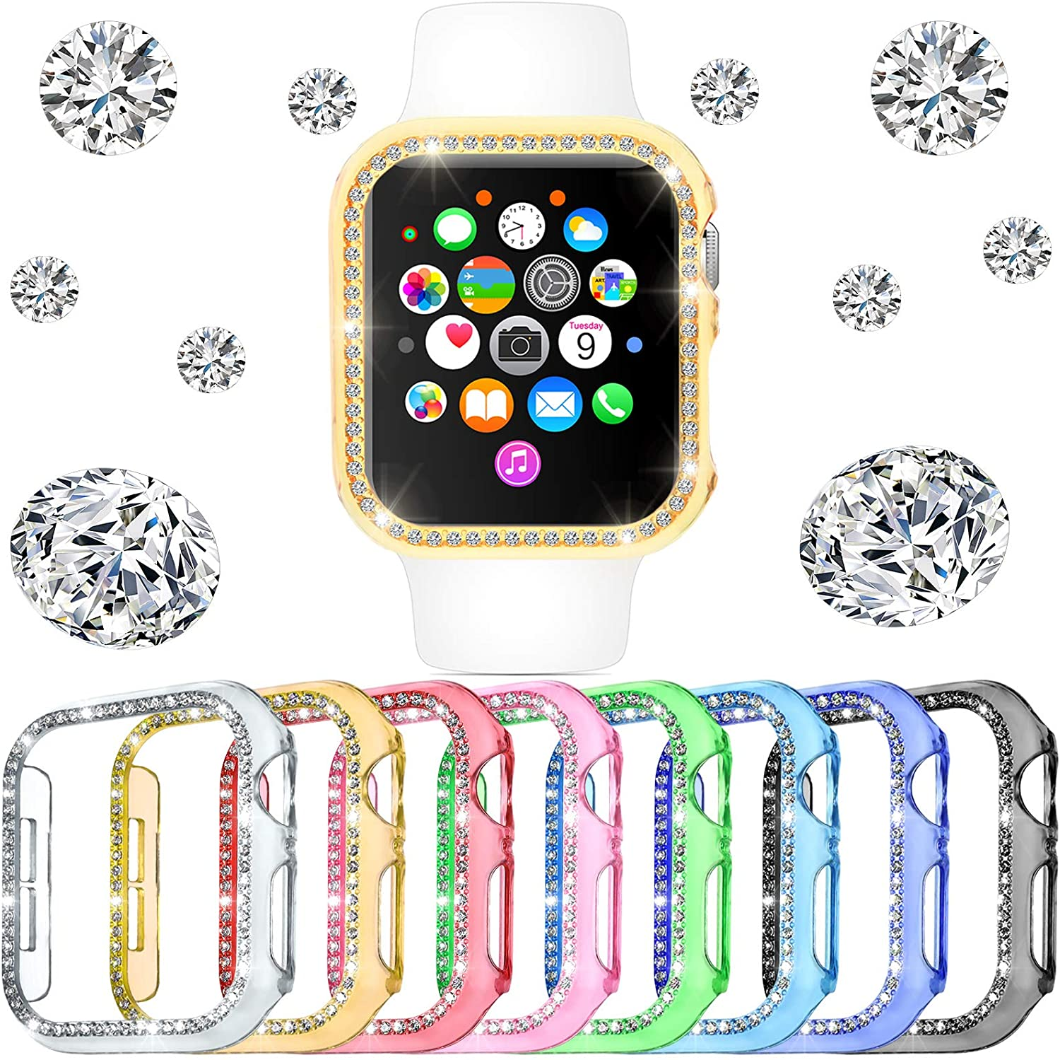 8 Pieces Watch Protector Compatible with iWatch Series 6/5/4/SE Bling Crystal Diamond Bumper with Shiny Rhinestones Diamonds Cover Plated Hard Frame Case Accessories for Women Girls, 8 Colors (38mm)