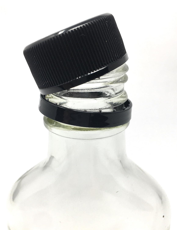 3.3 oz 12 Pack Glass Flask Liquor Bottle with Black Caps 100 ml