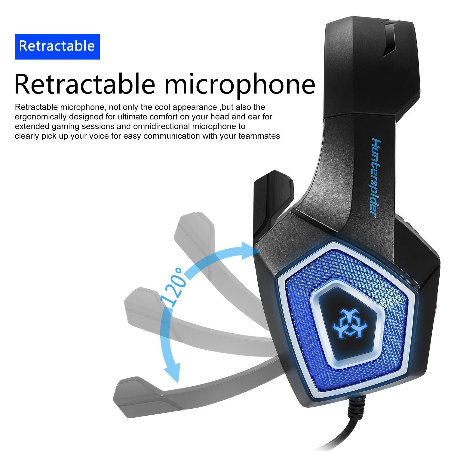 Fuleadture Gaming Headset for PS4 Xbox One, PC Gaming Headset with Mic, Noise Cancelling Over Ear Headphones with LED Light, Bass Surround, Soft Memory Earmuffs for Laptop Mac Nintendo Switch Games by Fuleadture (Image #4)
