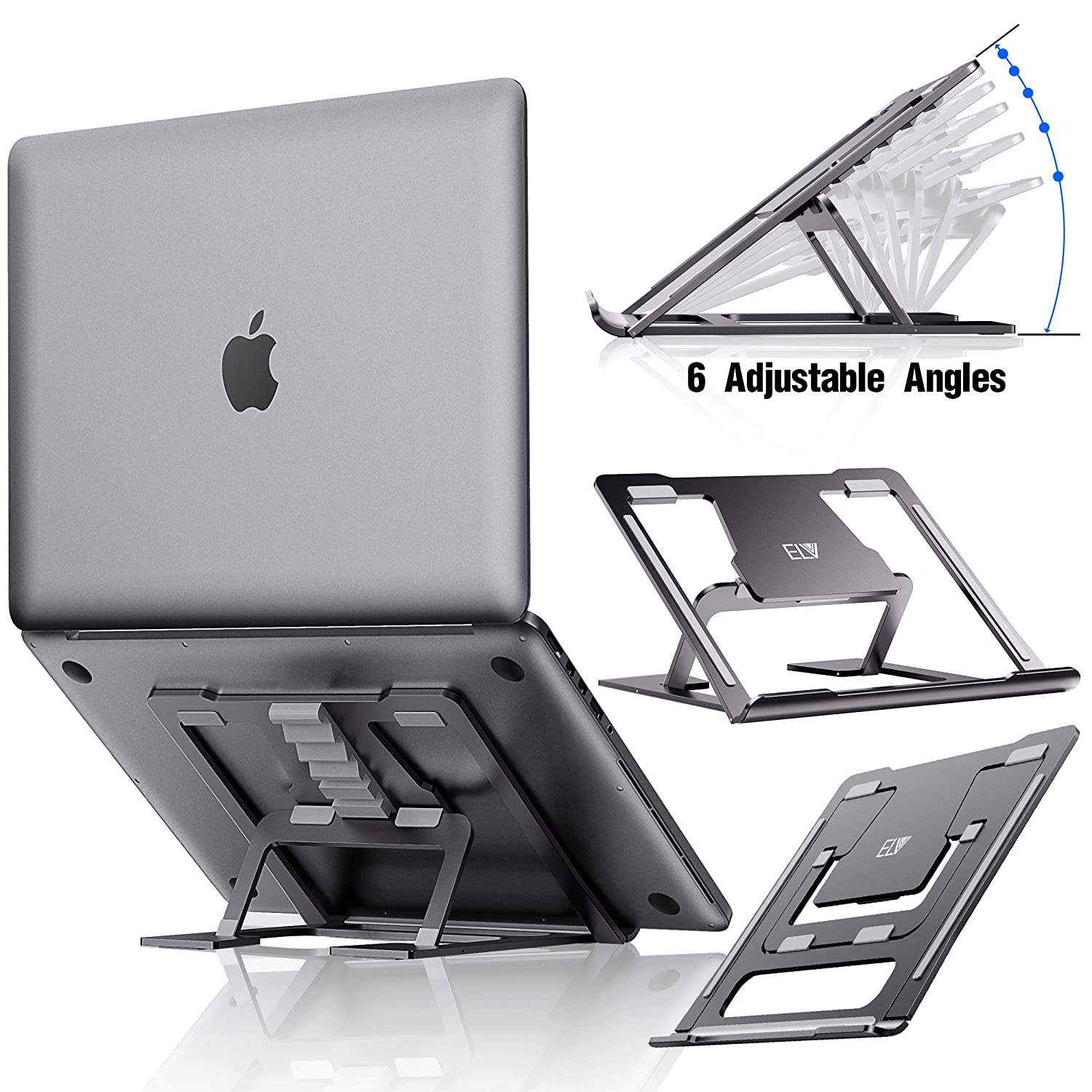 ELV Adjustable Laptop Stand, Compatible with Apple Mac MacBook Pro Air 10 to 15.6 Inch Notebook, Antislip Anti-Scratch Aluminum Ventilated Portable Ergonomic Desktop Holder Riser for Office Desk