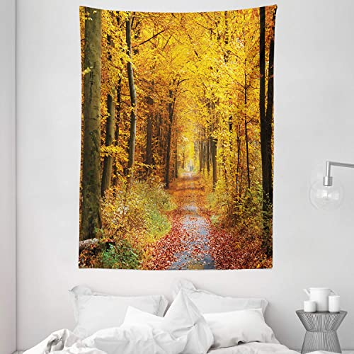 Ambesonne Forest Tapestry, Seasonal Foliage Leaves Bushes in Autumn Colors Countryside Pathway in Forest, Wall Hanging for Bedroom Living Room Dorm, 60 X 80 , Yellow Brown