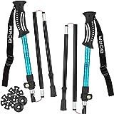 Premium Wanderstöcke faltbar, leicht und ultrakompakt - 2er-Set verstellbare Trekkingstöcke mit Klemmverschluss und Zubehör