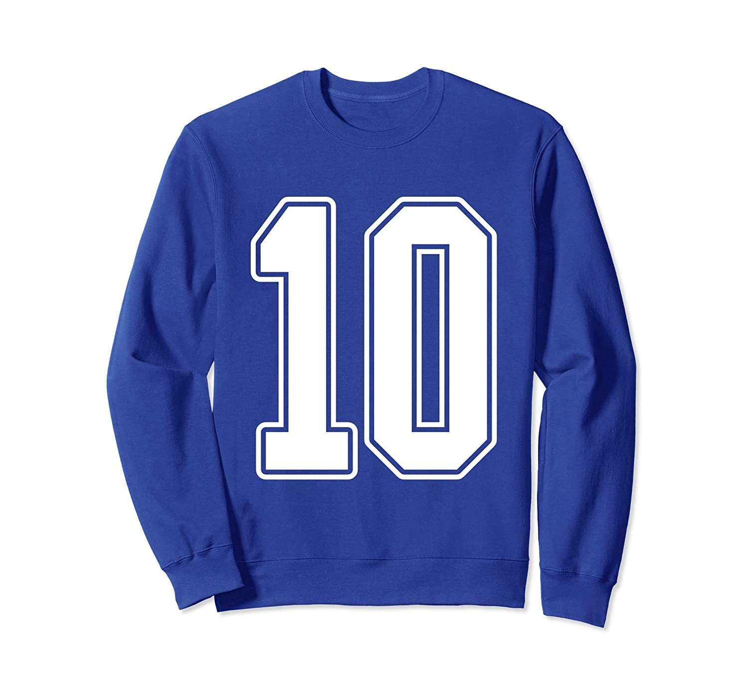 #10 White Outline Number 10 Sports Fan Jersey Sweatshirt-Rose