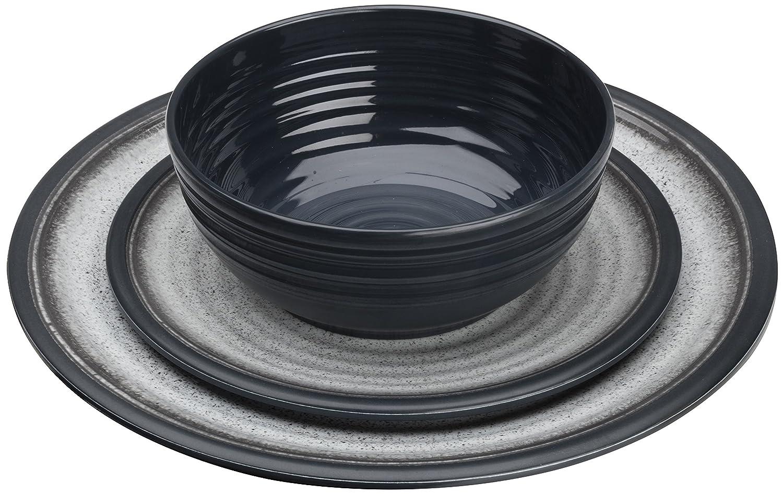 Flamefield Granite 12 Piece Melamine Dining Set - Grey GG0112
