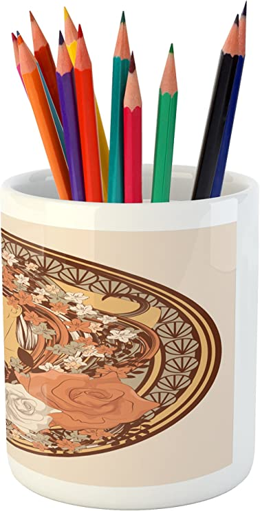 Ceramic Pencil Holder for Desk Office Accessory Cocoa Seafoam Ambesonne Yellow Brown Pencil Pen Holder 3.6 X 3.2 Blossoming Flower Retro Simplistic Floral