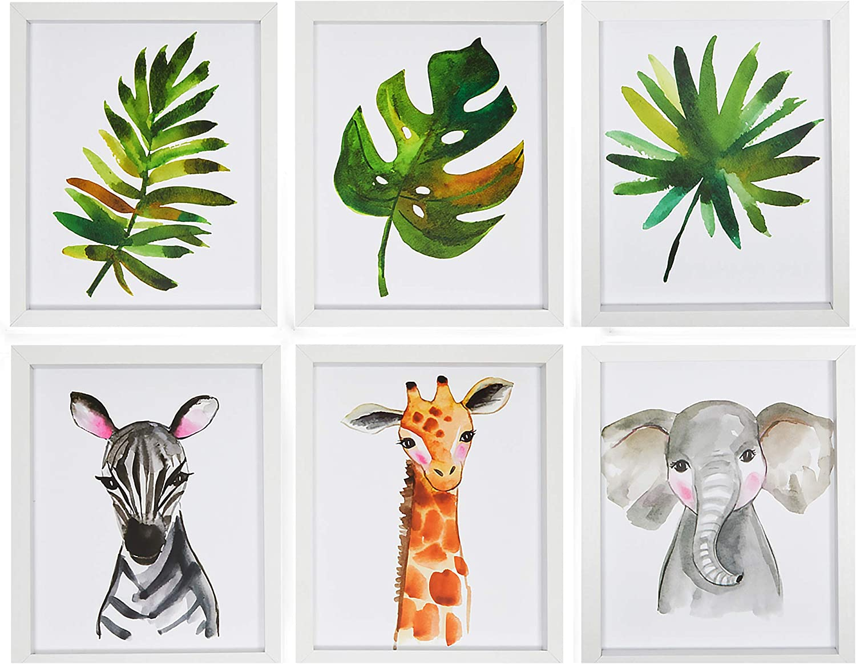 Jungle Animal Nursery Wall Décor, Zebra, Giraffe, Elephant (8 x 10 In, 6 Pack)