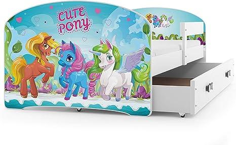 Interbeds Cama Individual LUKI - Blanco,160X80, con cajón, somier y colchón de Espuma Gratis! (Pony)