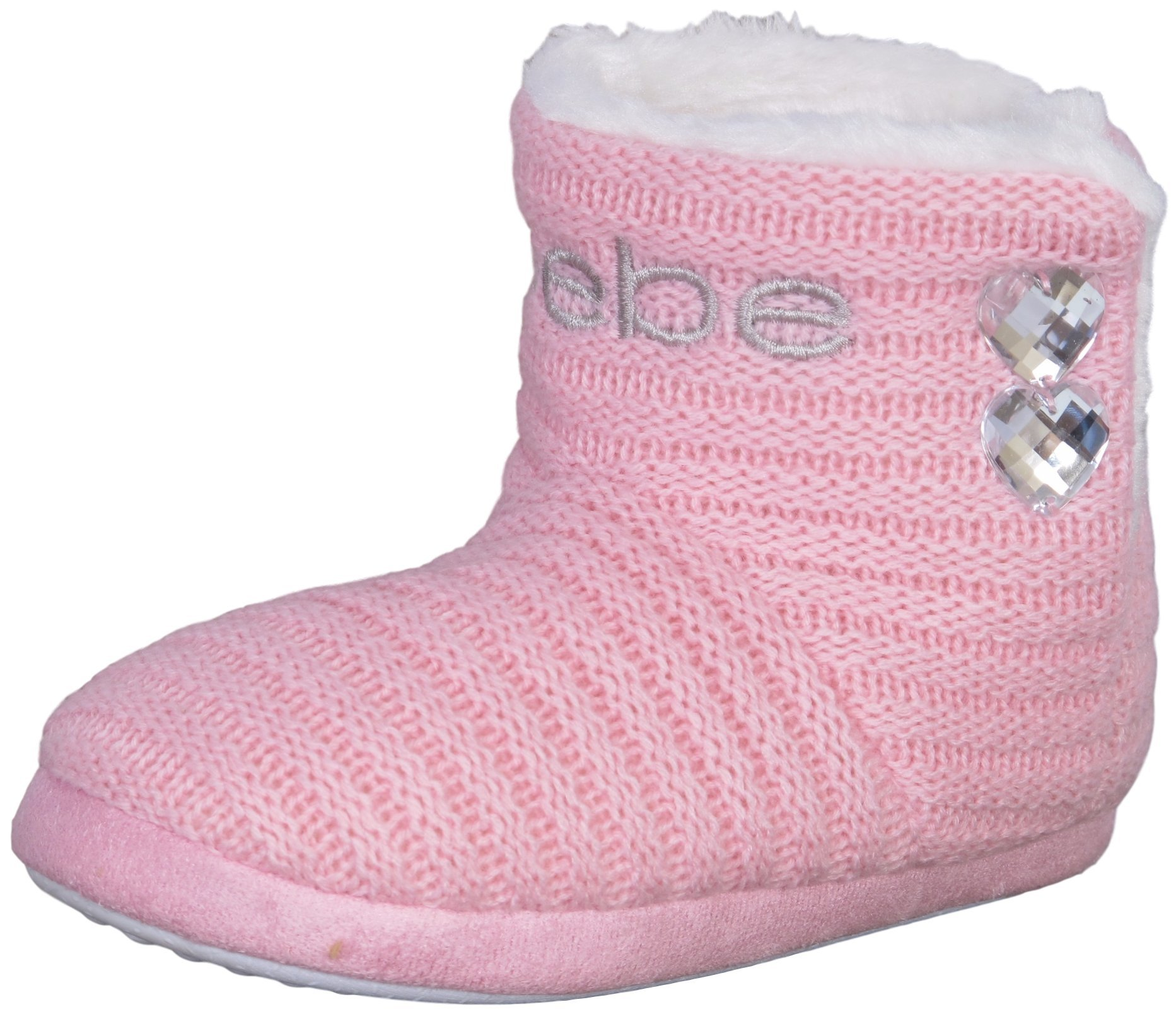 bebe Girl's Knit and Faux Fur Slipper Boots with Rhinestones Detail, Light Pink/White, 2-3 M US Little Kid'