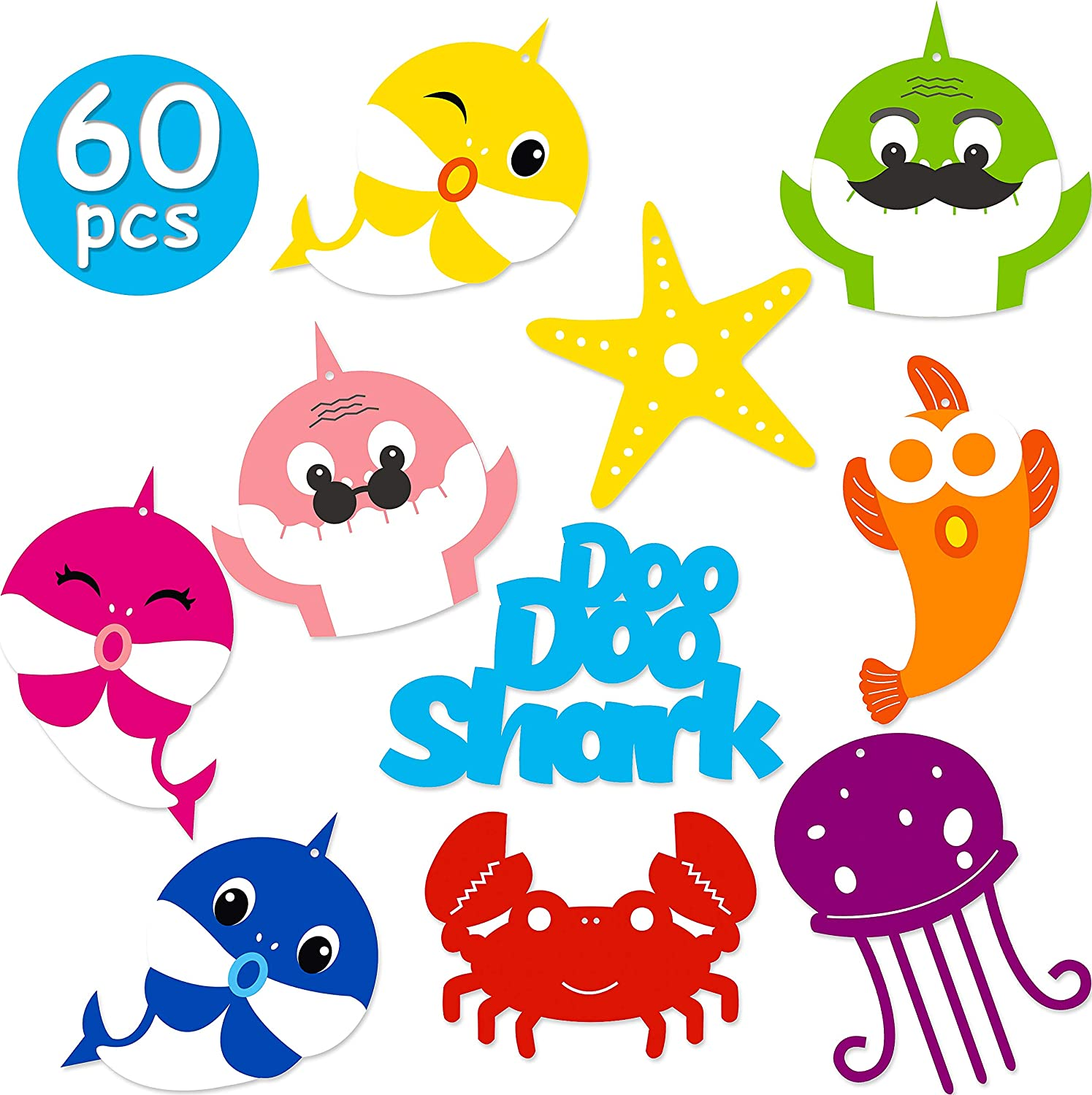 Ticiaga 60pcs Doo Doo Shark DIY Party Decoration Set, Double Sided Shark Centerpiece Sticks Table Topper for Kids Birthday, Party Banner Bunting Decoration, Shark Cake Topper, Photo Booth Props