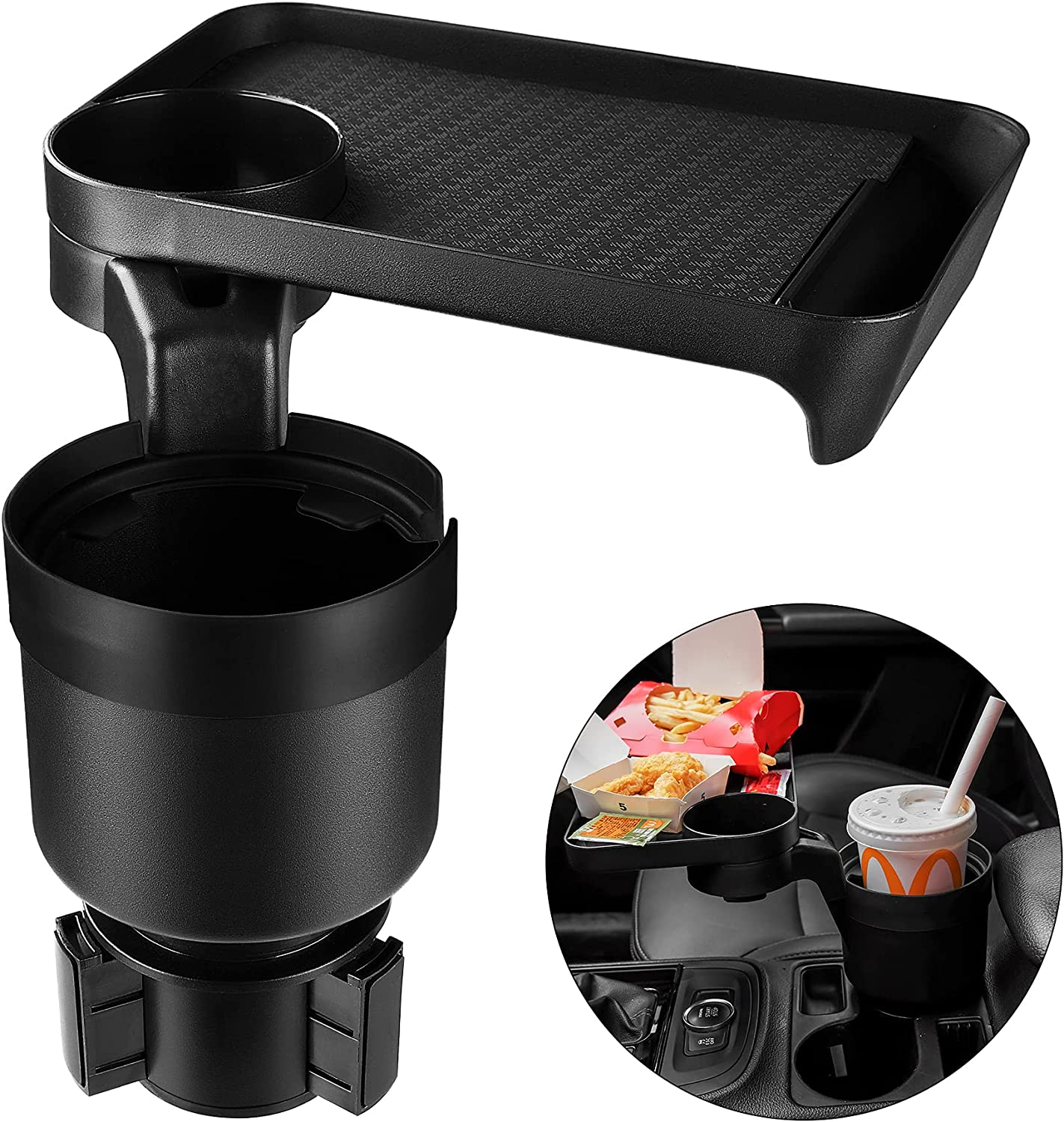 Car Cup holder Expander & Tray for Compatible with Yeti 20/26/30 oz, Hydro Flasks 32/40 oz, Nalgenes 30/32/38/48 oz, Camelbak 32/40 oz, Large Bottles in 3.4