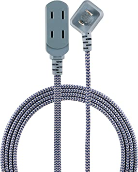 Cordinate Designer 3-Outlet Extension Cord 3 Prong Power Strip Surge Protector Braided Chevron Cord 41889 Tamper Resistant Safety Outlets Extra Long 10 ft Cable with Flat Plug Black//White