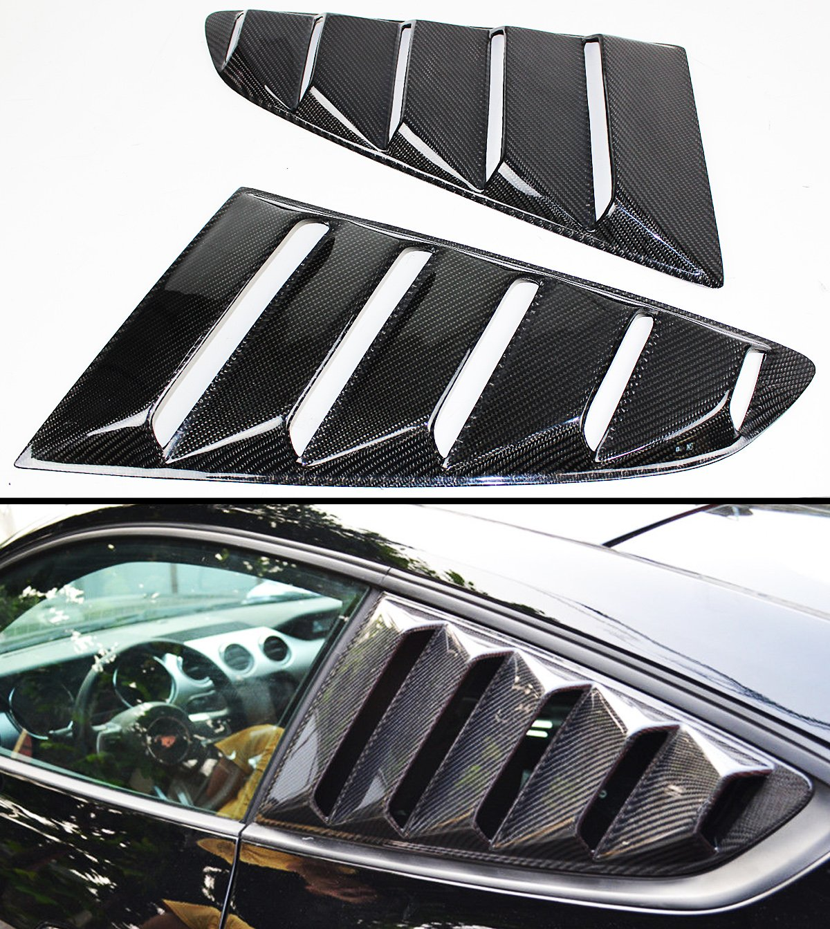 For 2015-2017 Ford Mustang GT S550 Carbon Fiber Side Vent Window Quarter Scoop Louver Covers Pair Cuztom Tuning