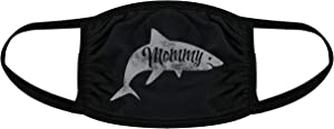 Mommy Shark Face Mask Funny Viral Kids Song Graphic Nose and Mouth Covering (Black) - 1 Pack