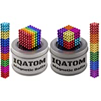 iHoM 5mm Magnetic Balls Cube 1000 Pieces Magnet Beads Fidget Toy Set Stress Relief Adults Desk Toy Magic Building Blocks Games for Kids Ten Rainbow