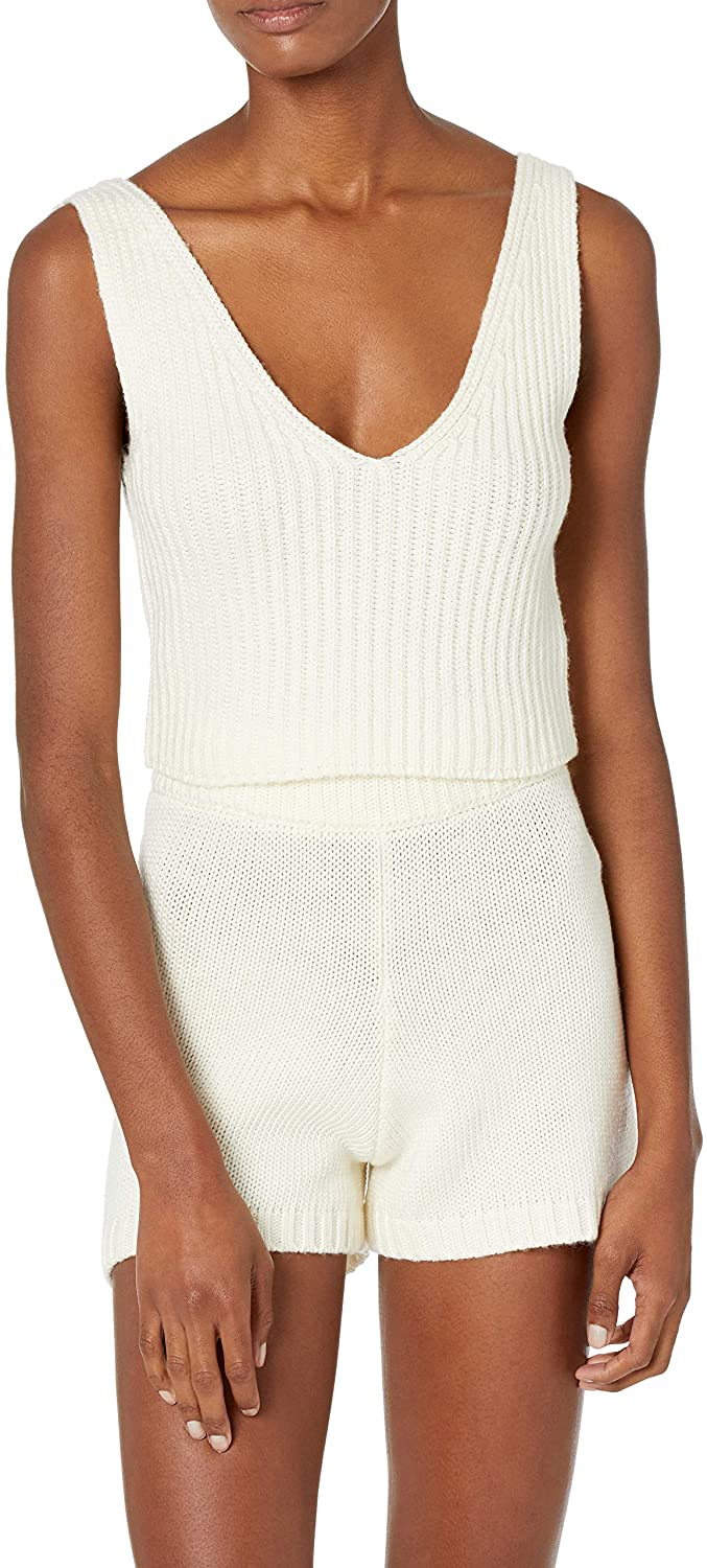 The Drop Womens Sylvie Double V-Neck Textured Rib Cropped Sweater Tank