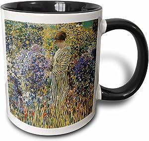 3dRose Lady in a Garden by Frederick Frieseke Impressionist Mug, 11 oz, Black